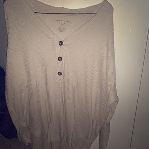 Cream Thermal Half Button Up